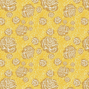 woodcut roses - gold/white/honey