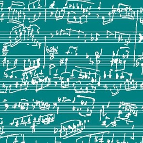 Hand Written Sheet Music on Teal // Large