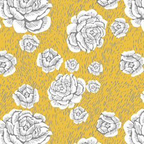 wood cut roses - white/sun/grey