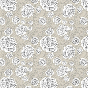 wood cut roses - white/grey/flax