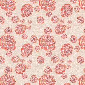 wood cut roses - sunrise/putty/white