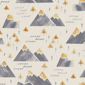 Gold-Tipped Watercolor Mountains