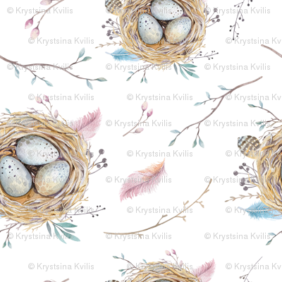 Watercolor feather boho color organic design with branches and nests