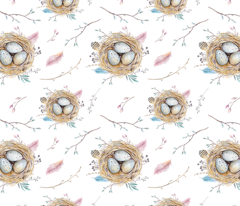 Watercolor feather boho color organic design with branches and nests fabric by peace_shop on Spoonflower - custom fabric