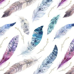 Watercolor feather boho color organic design30