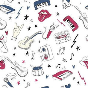 Rock music background textures, musical hand drawn doodle style pattern3
