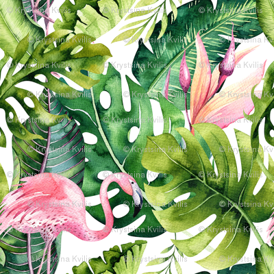 Tropical leaves and flamingo