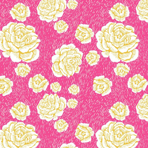 wood cut roses - white/pink/sun