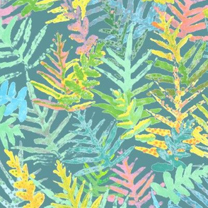 Watercolor Laua'e Ferns on Teal