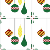 Cheater Quilt Christmas Ornaments Block 11in Red Green Gold