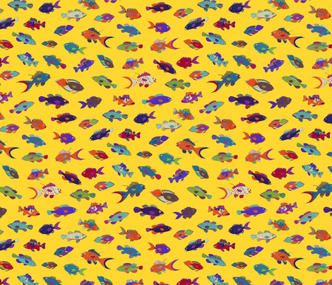 Tropical Fish - Yellow fabric by cecca on Spoonflower - custom fabric