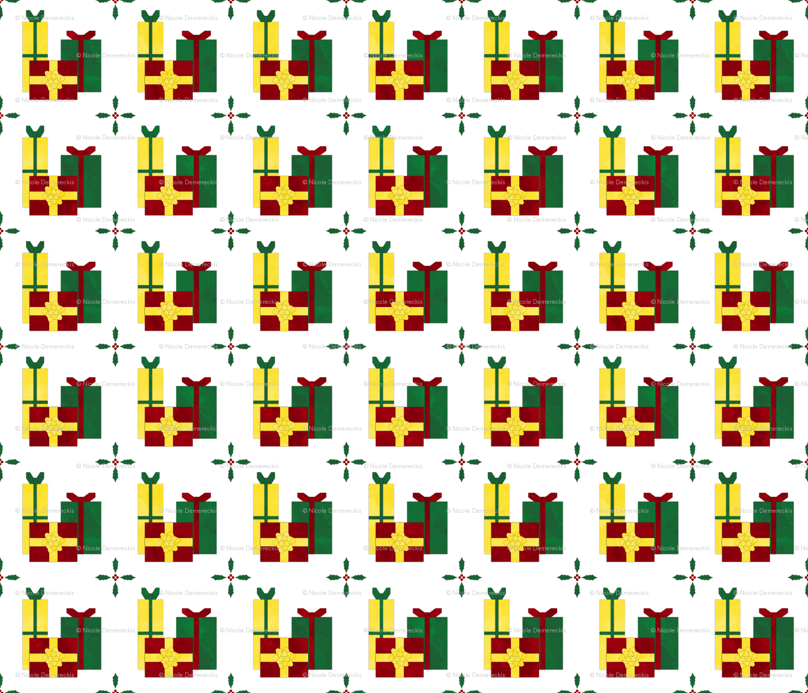 Fill A Yard Christmas Presents Quilt Block 6in Red Green Gold Fabric