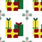 Cheater Quilt Christmas Presents Block 11in Red Green Gold