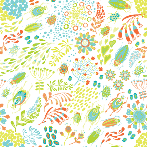 Spring Inspiration White fabric by nellik on Spoonflower - custom fabric