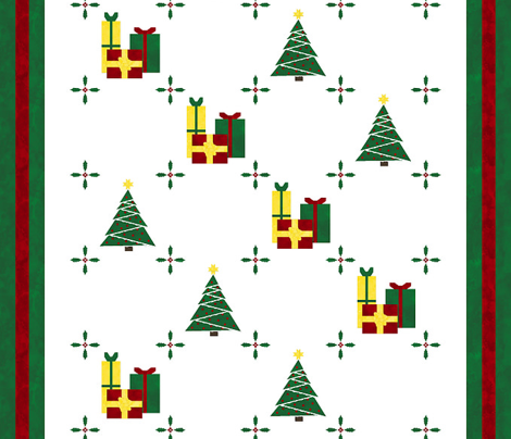 Cheater Quilt  Christmas Tree Block 11in Red Green Gold