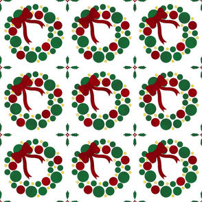Fill A Yard Christmas  Wreath Quilt Block 6in Red Green Gold