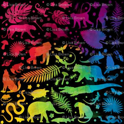 watercolour jungle black