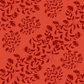Dark Red Silhouette Diagonal Flowers on Light Red