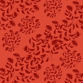 Dark Red Silhouette Diagonal Flowers on Light Red