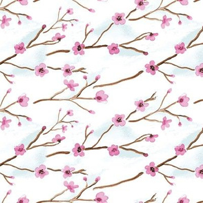 16-08h Cherry Tree branch Blossom Flower Watercolor || Japan Japanese Asian Clouds Pink Blue White _Miss Chiff Designs