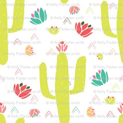 Green Cacti and Desert Flowers