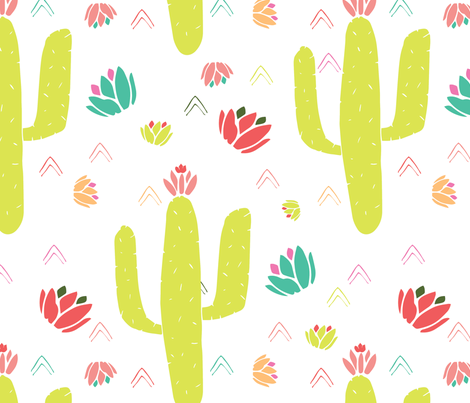 Green Cacti and Desert Flowers fabric by kellyparkersmith on Spoonflower - custom fabric