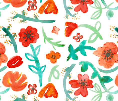 Watercolor Floral Pattern fabric by pixabo on Spoonflower - custom fabric