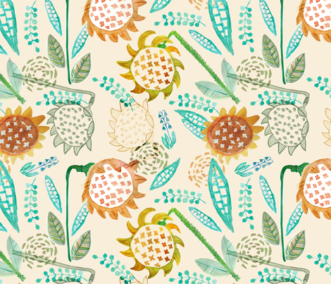 watercolor sunflower fabric by pixabo on Spoonflower - custom fabric