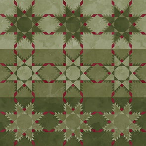 Fill A Yard Feathered Star Quilt Block 6in Olive Maroon