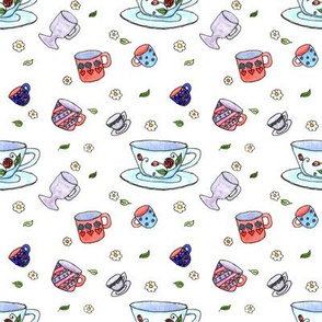 Watercolor Tea Cups White