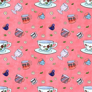 Watercolor Tea Cups Pink