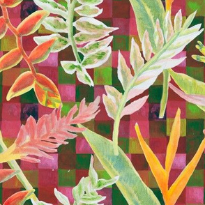Tropical Paradise Scatter with Pink and Green Mosaic Background