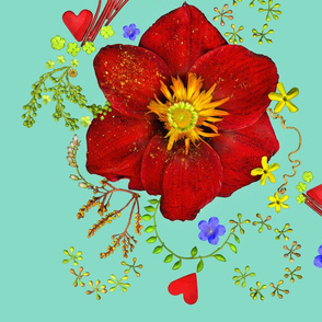 MAM_amaryllis_red_and_or_013_aqua_cyan_pattern_blue_flower_smaller_Med_RES_spoonflower