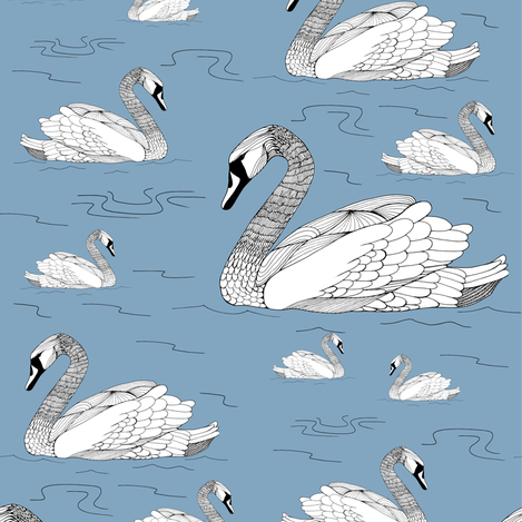 Swans Blue fabric by pennyroyal on Spoonflower - custom fabric