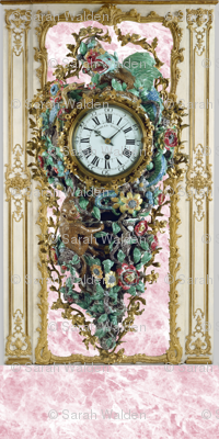 Pompadour Clock on Poisson Pink Marble