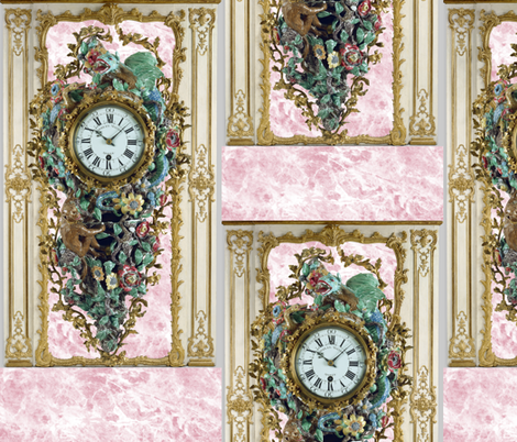 Pompadour Clock on Poisson Pink Marble  fabric by peacoquettedesigns on Spoonflower - custom fabric