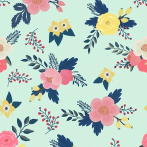 Sweet Bouquets in Mint and Navy