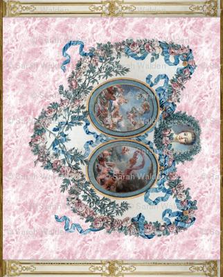Madame de Pompadour Panel on Poisson Pink Marble