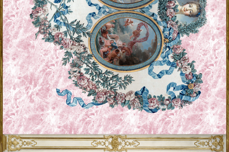 Madame de Pompadour Panel on Poisson Pink Marble  fabric by peacoquettedesigns on Spoonflower - custom fabric