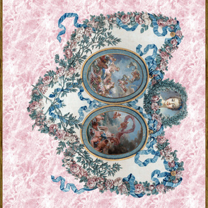 Madame de Pompadour Panel on Poisson Pink Marble