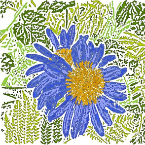 Watercolor Cornflowers, Ferns, and Ivy