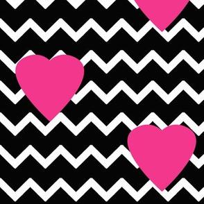 Black Chevron Hot Pink Heart