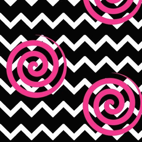 Black Chevron Hot Pink Spiral Swirl