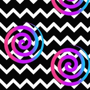 Black Chevron Rainbow Spiral Swirl