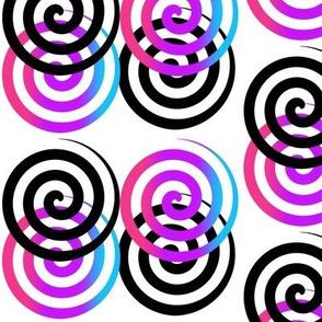 Rainbow Black Spiral Swirl