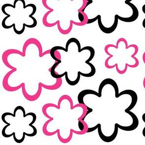 Hot Pink Black Floral Flower