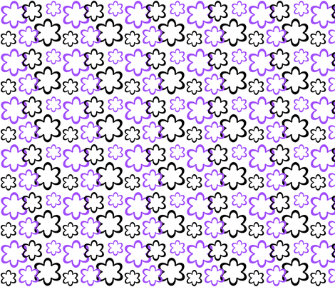 Purple Black Floral Flower fabric by decamp_studios on Spoonflower - custom fabric