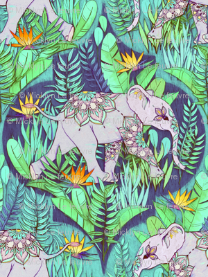 Little Elephant on a Jungle Adventure - faded vintage version