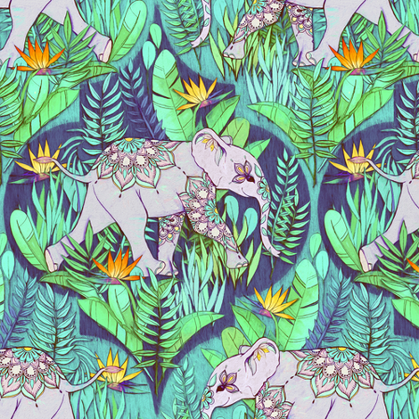Little Elephant on a Jungle Adventure - faded vintage version fabric by micklyn on Spoonflower - custom fabric