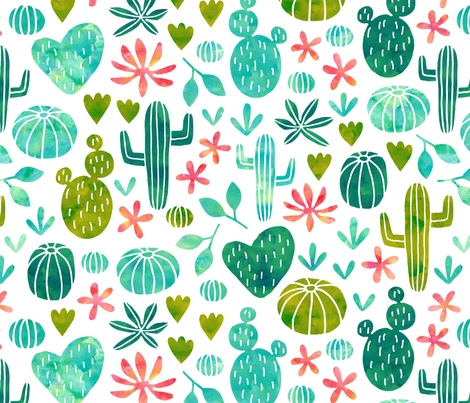 Cacti in watercolor fabric by heleen_vd_thillart on Spoonflower - custom fabric